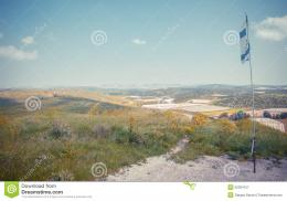 Flat Landscape In Israel With Flag Stock PhotoImage: 52334157 1372