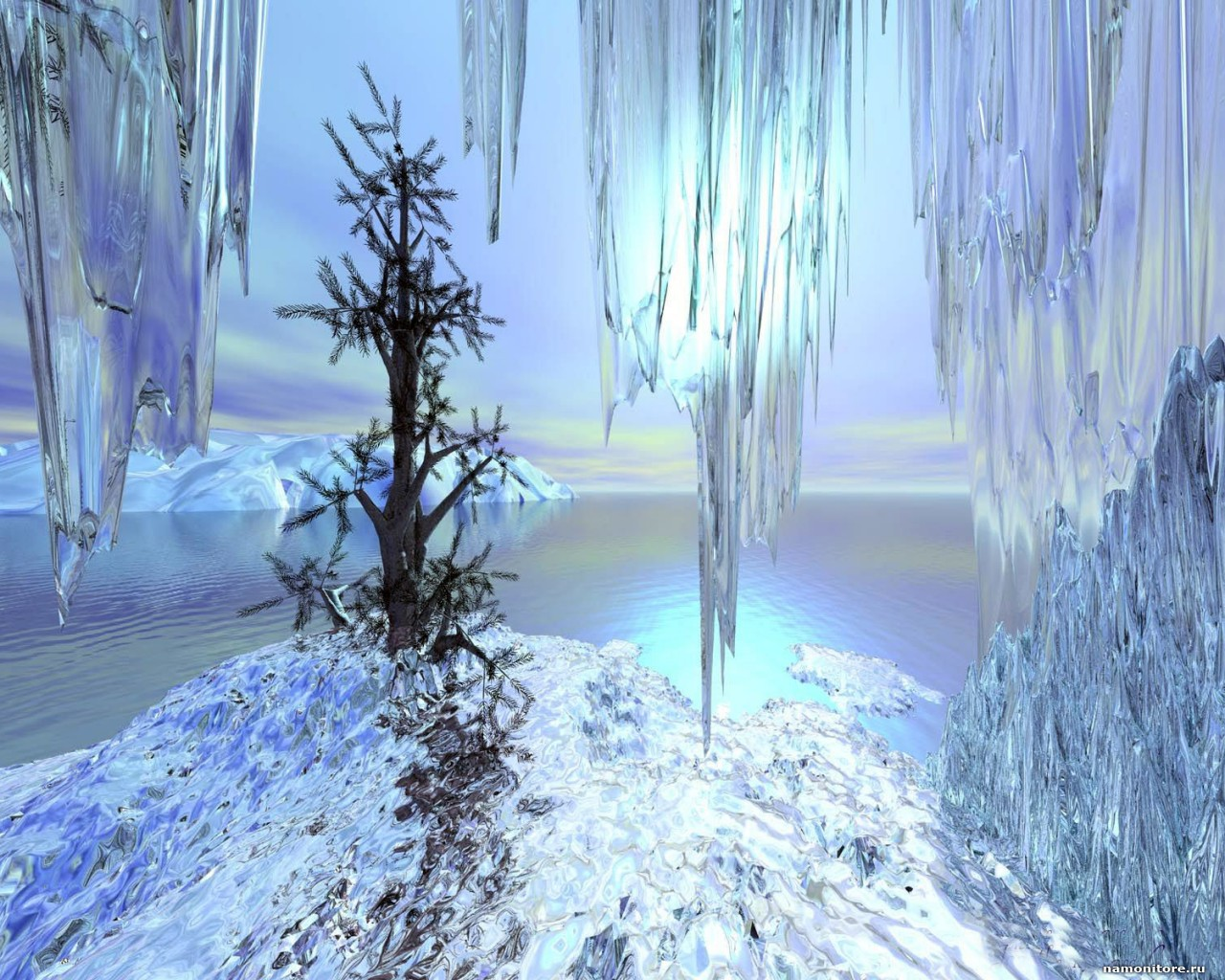 The Fur tree in snow and icicles, 3D, dark blue, drawed, Winter 1632