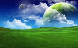 Planets over green field wallpaper426635 1827