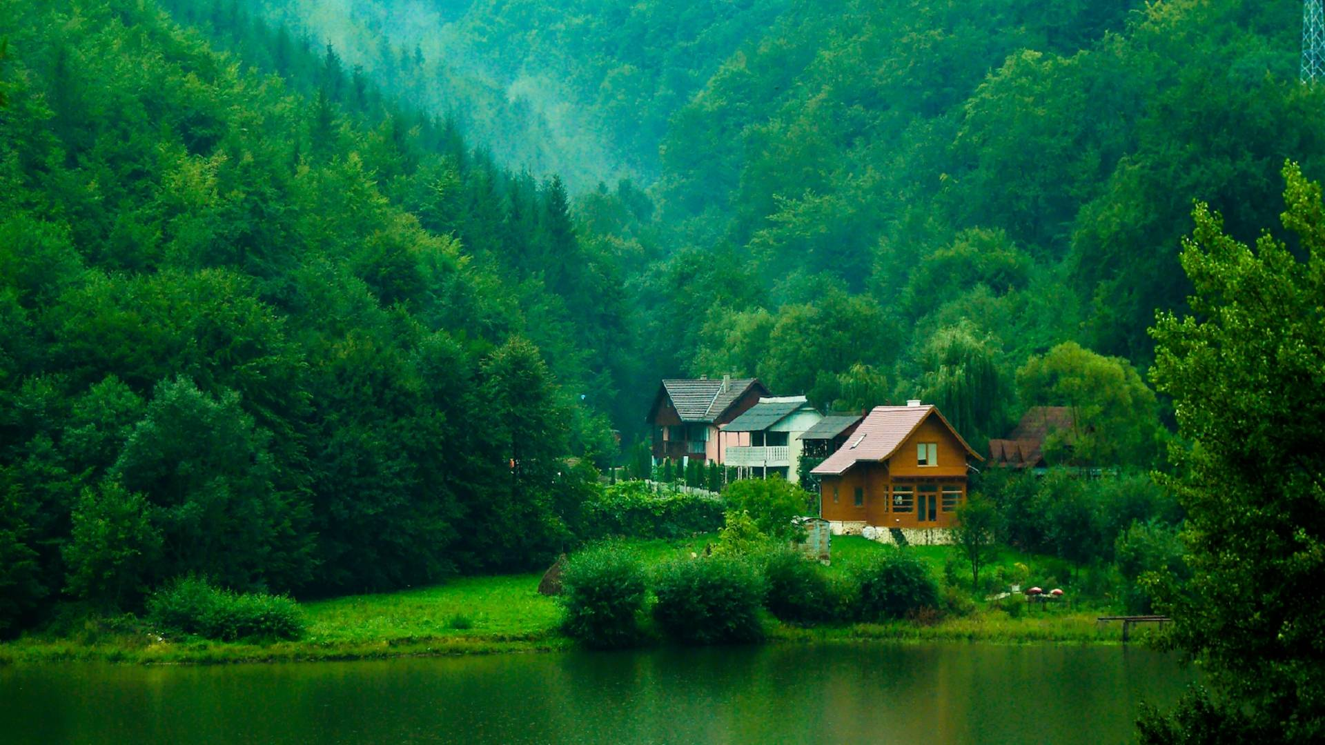 House in the green mountain, House in a mountain forest 817