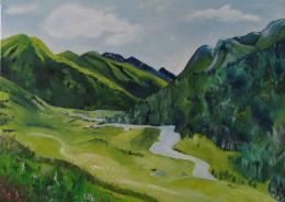 Countryside Green Mountains Nature Painting Landscape by Lishna 1267