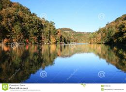 Early fall reflection in Mill Creek Lake, Natural Bridge State Park 988