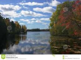 Lake landscape taken in early fall on a lake in Northern Wisconsin 1325