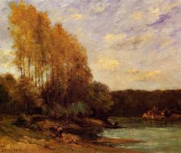 painted oil painting reproduction on canvas of Early Autumn on a Lake 989