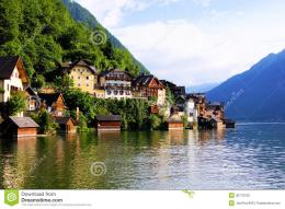 Traditional lakeside houses of the village of Hallstatt, Austria 1850