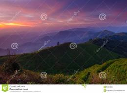 Landscape of sunrise over mountains in Kanchanaburi, western of 1375