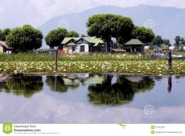 beautiful landscape, sun day, reflection in the lake, house on the 445