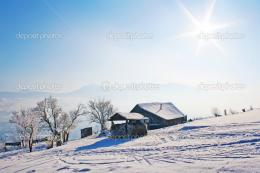 Lonely house in mountains under blue sky — Stock Photo © lmeleca 869