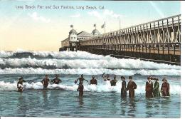 Vintage Postcard, Long Beach Pier and Sun pavilion, Long Beach CA 1624