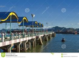 Long Pier For Boats And Tourist Ships Ha Long Bay In Vietnam Stock 1961