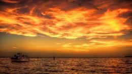 Magnificent sunset at sea hdr clouds boat wallpaper 393