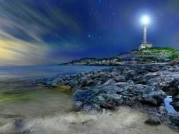 Wonterful starry lighthouse wallpaper 687