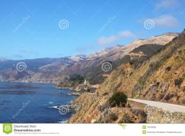 Magnificent mountain road on Pacific coast USABright serene autumn 1524