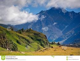 Magnificent mountain scenery on the background of the mountains in the 1425