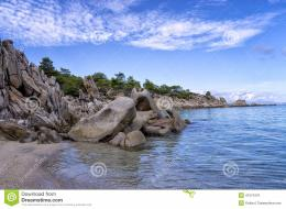 Rocks And Sand In A Beautiful Beach In Chalkidiki, Greece Stock Photo 159