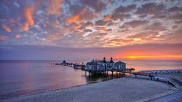 Dock Pier Buildings Sunset Sunrise Nature Sky Clouds Ocean Sea 1723