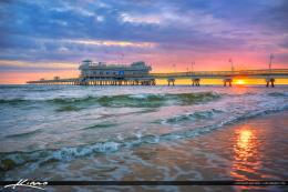 View Pier Beautiful Sunset Nature Horizon Sun Sky Sea Waves Sand 137