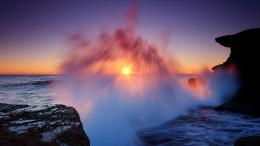 Magnificent sea waves at sunset shore rocks wallpaper 1542