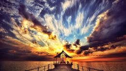 Sunset pier sea clouds nature 2560x1440 1874