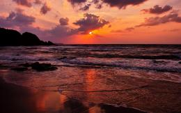 Magnificent ocean sunset beach sea rocks 1268
