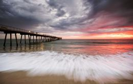 Sea, beach, pier, sunset, clouds wallpapersphotos, pictures 1262