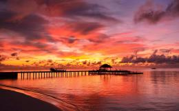 Sunset nature sky pier sea clouds view 1440x900 1744