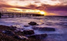 sea pier at sunset hdr wallpaper tags clouds sunset pier shore rocks 1151