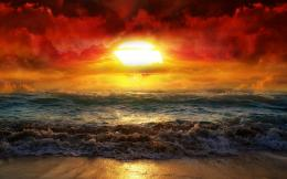 Magnificent sunrise over the beach wallpaper 1023