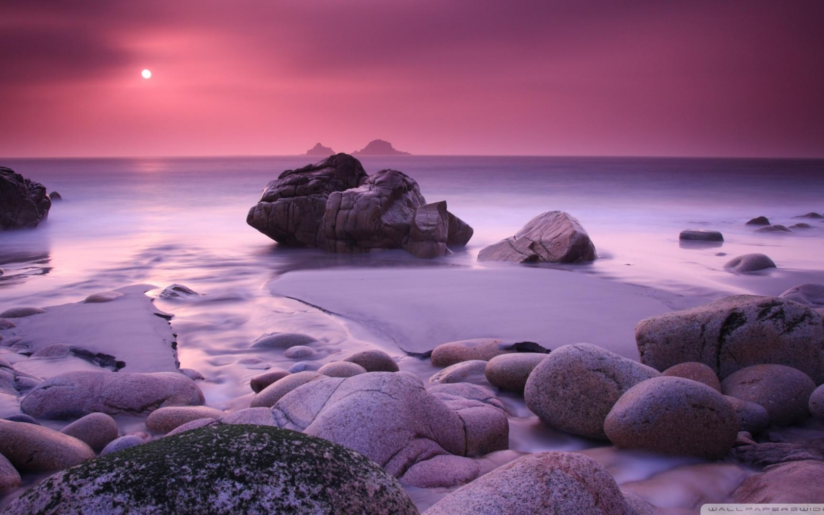 Magnificent Purple Rocky Beach Hd Wallpaper | Wallpaper List 1804