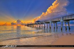 Photograph Glorious Sunrise Over Juno Beach Florida at Pier by Kim 1626