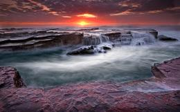 Magnificent rocky shore at sunset waves sea HD Wallpaper 1467