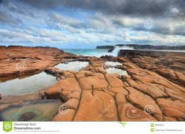 Waves Splash On Magnificent Rock Formations Stock PhotographyImage 1954