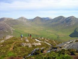here shows some hikers in connemara s famous 12 bens mountain range 372