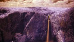 Marvelous colors of waterfall cliff clouds wallpaper 325