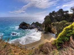 Ocean cliff waterfall bay california big wallpaper 472