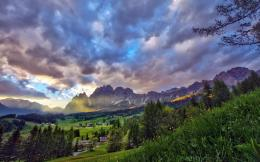 meadow hdr wallpaper tags clouds mountains forest village meadow 573