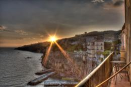 Gorgeous sunset over a seaside town hdr wallpaper 363