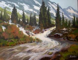 "David ForksTexas Landscape Painter: ""Mountain River Flow\"" 654"