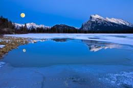 Mount Rundle Winter Reflections 2nd Vermilion Lake Full Moon | Photo 747
