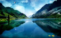 lake, mountains, clouds, reflection, balloon, hot air balloon, nature 1312
