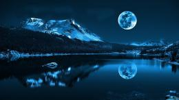 Reflection moon landscape mountain photo lake water background snow 1505
