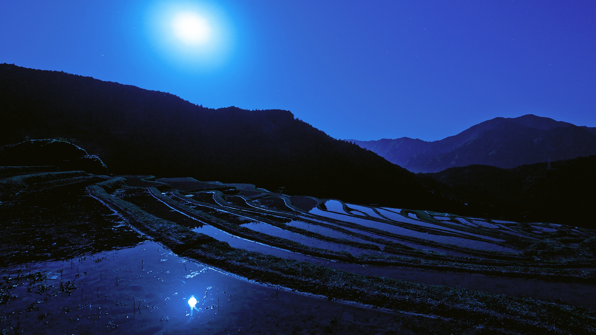 blue, moon, mountains, nature, night, peaceful, reflection, sky, water 1533