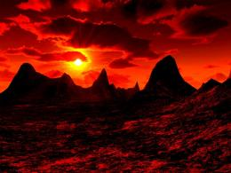 Red desert sky sun mountains nature:High Contrast 386