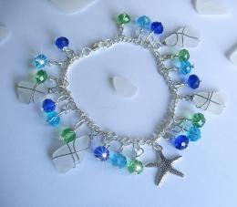Sea Glass Bracelet with Crystals and Starfish 1777
