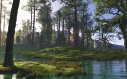 Peaceful Green River In Green Forest Hd Wallpaper | Wallpaper List 1779