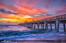Juno Beach Pier Sunrise with Wave | HDR Photography by Captain Kimo 1244