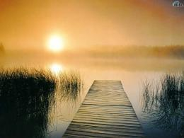 sunset, lake, sunrise, fog, jetty, pier, morning, Dock to Nowhere 273