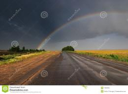 Rainbow Over Road Royalty Free Stock PhotoImage: 1285365 1462