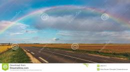 Rainbow Over The Road Stock ImageImage: 28007071 1750