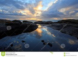 Coastal Tide Pool Sunset Reflection, Oregon Coast Stock ImagesImage 1889